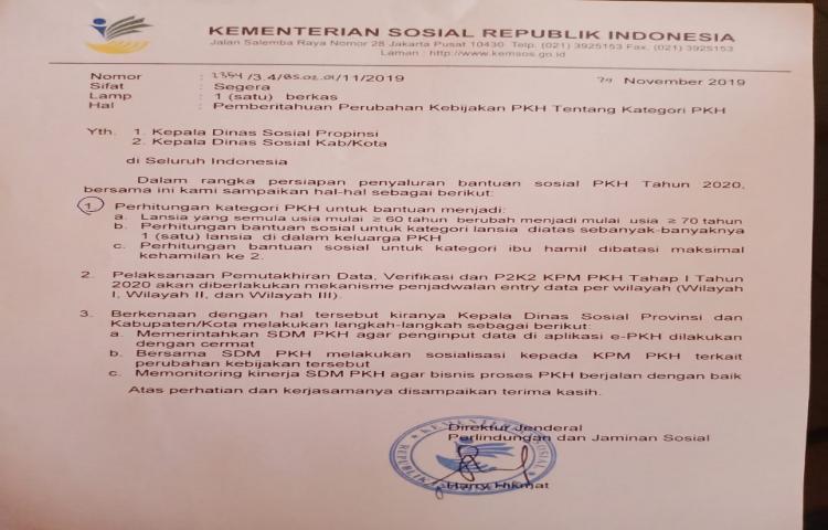Pemeritahuan Perubahan Kebijakan PKH tentang Kategori PKH dari Kementerian Sosial Republik Indonesia, sesuai surat terlampir.